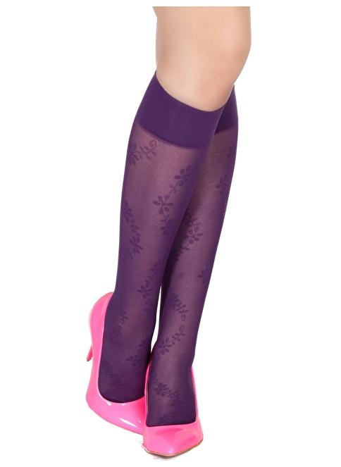 Pierre Cardin 3'Lü Desenli Dizaltı Çorap Mor